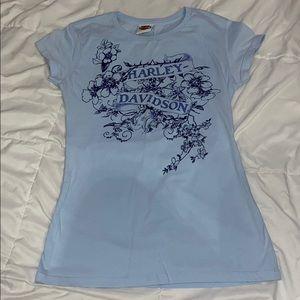 Harley Davidson Baby Blue Maui Hawaii Shirt Size L